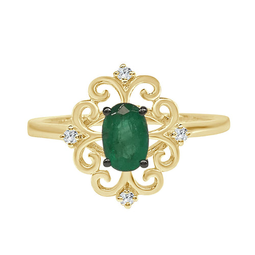 Fancy Swirled Emerald Ring With Diamond Accents
