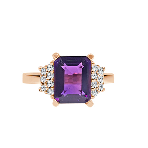 Emerald Cut Amethyst With Diamonds Ring