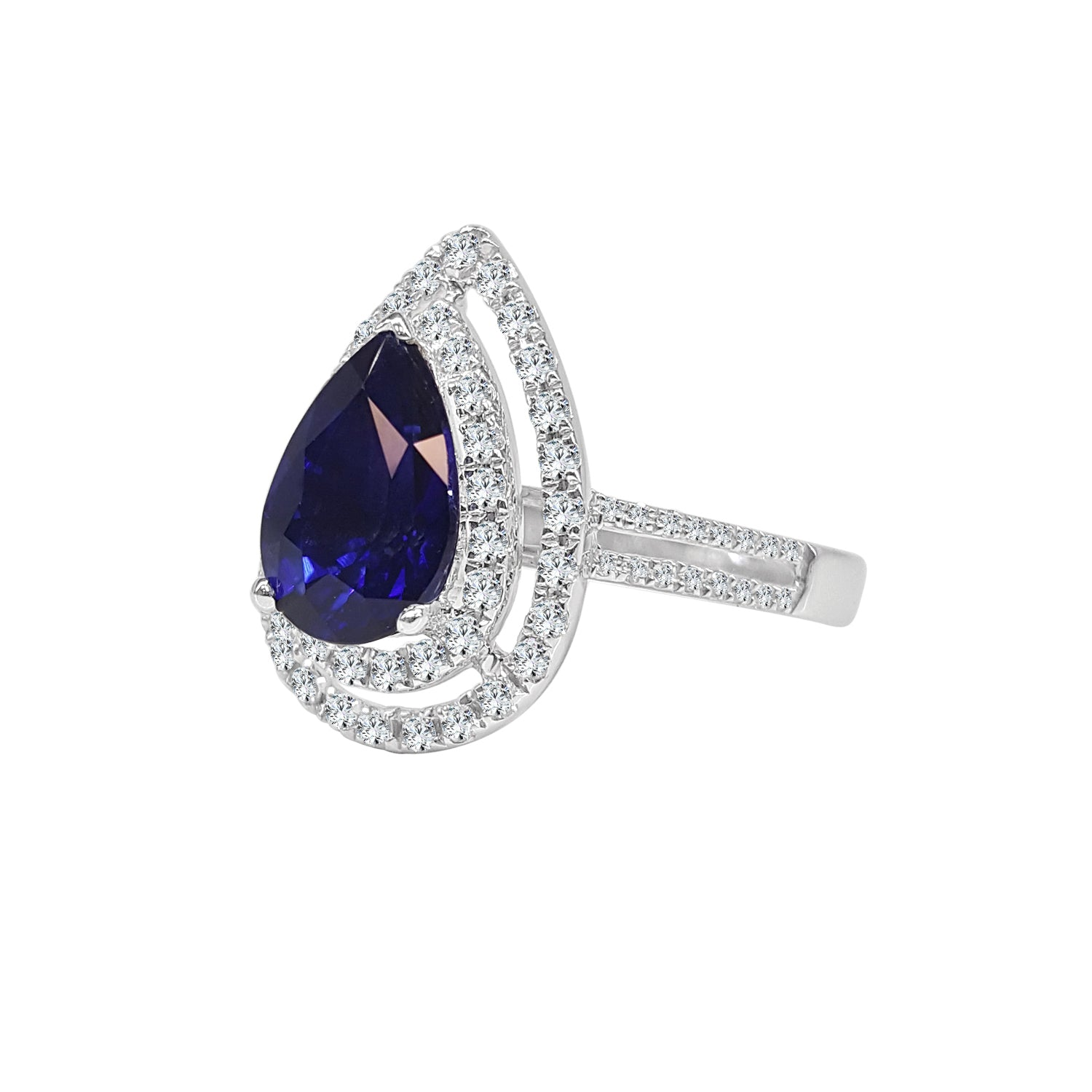 Double Halo Pear Shaped Ring With Straight Split Band