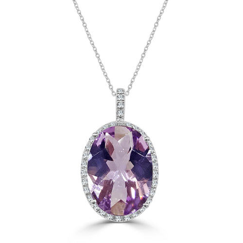 Fancy 17 Carat Oval Amethyst Necklace With Diamond Halo