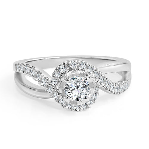 High Polish And Diamond Shank Bypass Halo Engagement Ring