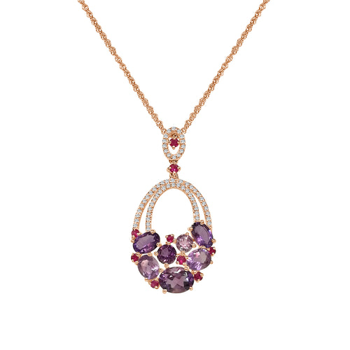 Amethyst Pink Sapphire and Diamond Fancy Drop Pendant