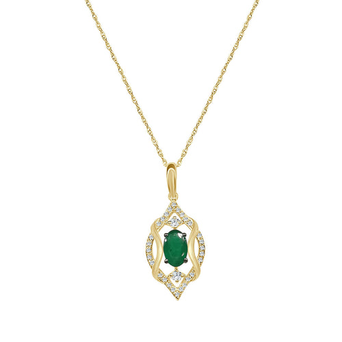 Fancy Oval Emerald Necklace With Diamond Accent