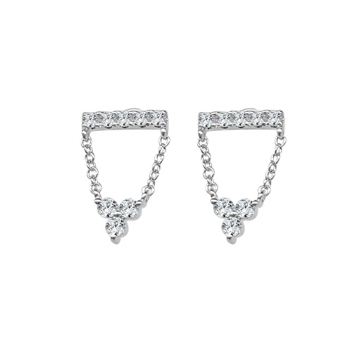Shy Creations Diamond Bar Studs With Triple Diamond Dangle