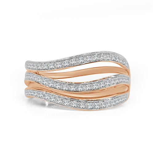 Diamond And Rose Gold Fancy Wave Band