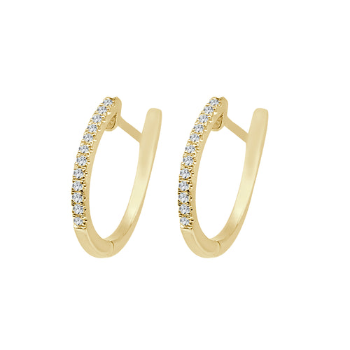 Shy Creations Oval Diamond Hoop Earrings