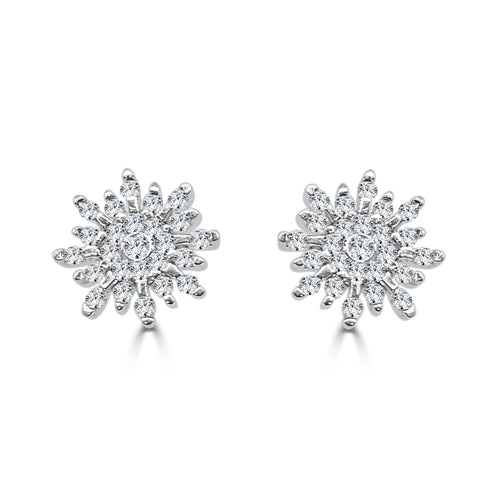 Fancy Diamond Snowflake Earrings