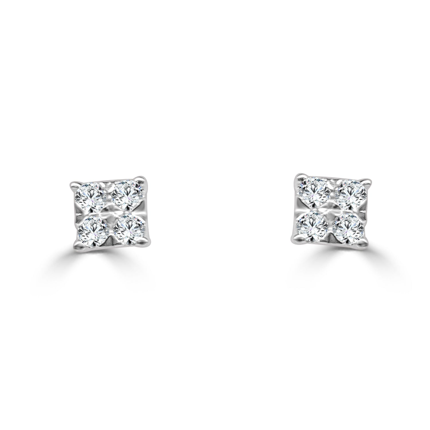shaped earrings pave cut princess square diamond