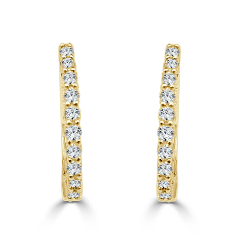 Quarter Carat Diamond Yellow Gold Hoop Earrings
