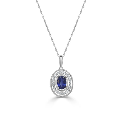 Oval Sapphire Necklace With Diamond Halo