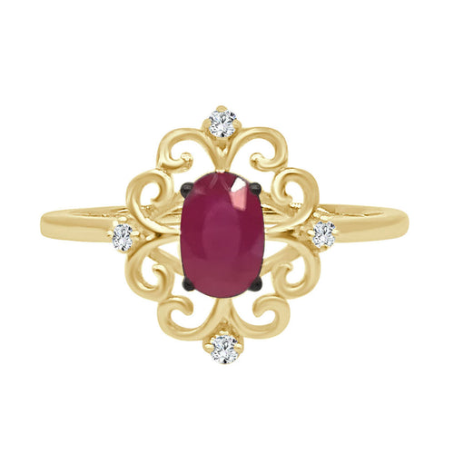 Oval Ruby Scroll Ring With Diamond Accents
