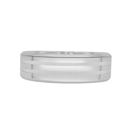 Satin And Polished Stripe Tungsten Carbide Band
