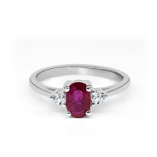 Oval Ruby With Diamonds Ring
