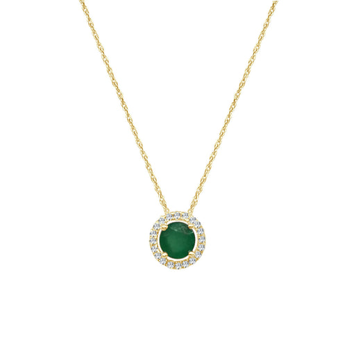 Round Emerald Necklace With Diamond Halo