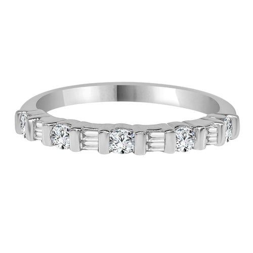 Round and Baguette Diamond Bar Set Band