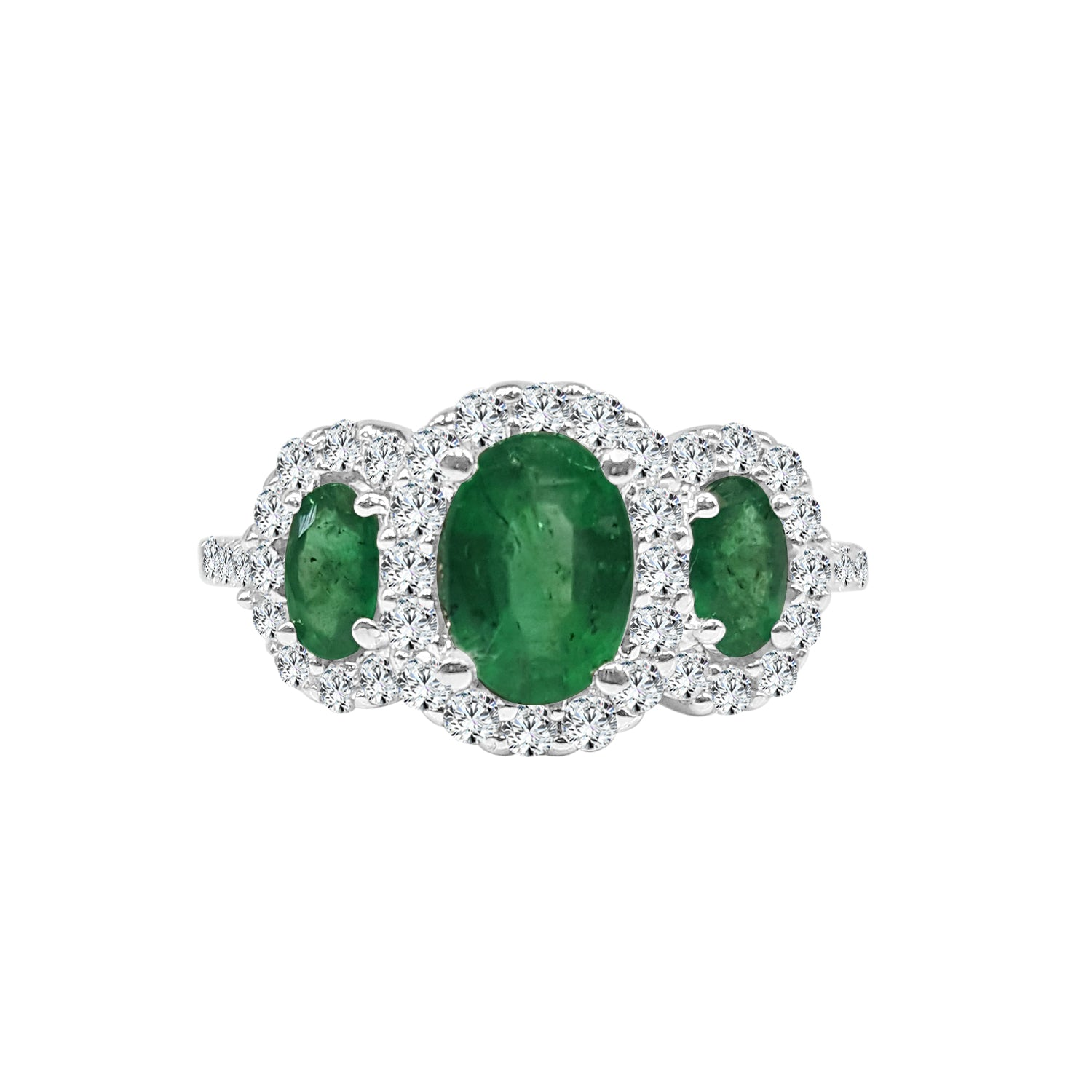 14 Karat White Gold 1.3 Emerald Ring