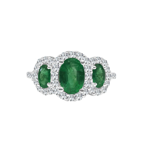 Three Oval Emeralds Ring With Diamond Halo