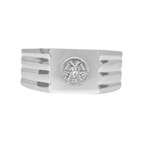 Polished Mens Ring With Cubic Zirconia Center