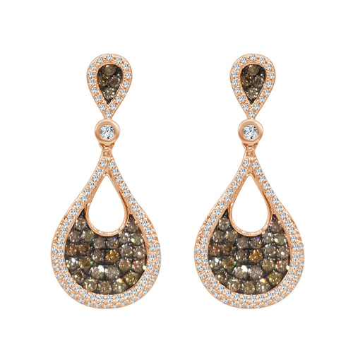 Fancy Brown And White Diamond Teardrop Earrings