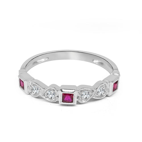 Square Ruby And Diamond Fancy Band