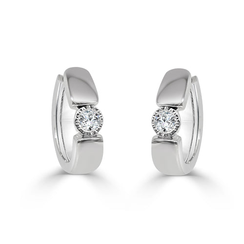 Single Diamond Hoop Earrings
