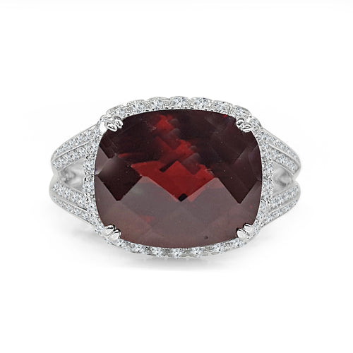 Garnet With Diamond Halo And Wide Split Band
