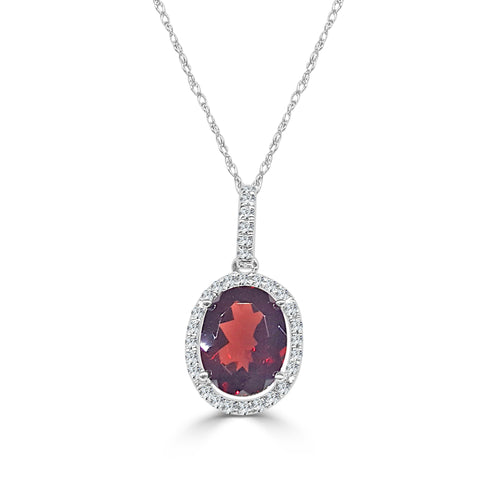Oval Garnet Necklace With Diamond Halo