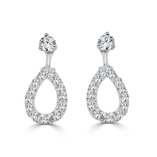 Convertible 0.44 Carat Diamond Pear Shaped Earring Jackets
