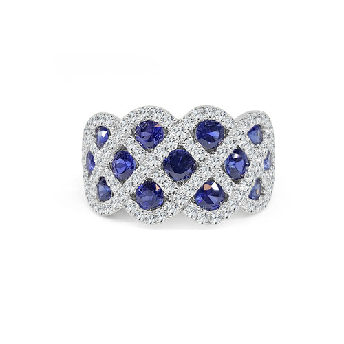 Fana Sapphire And Diamond Woven Wide Band