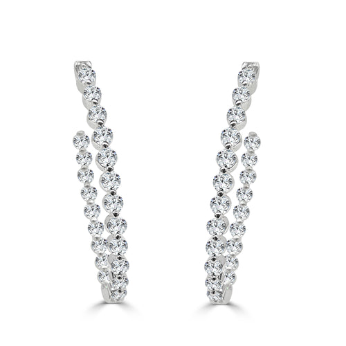 Diamond Oval Inside Out Hoop Earrings