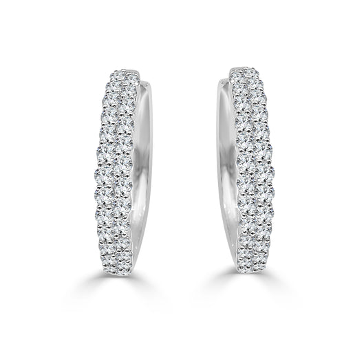 Double Row Diamond Hoop Earrings