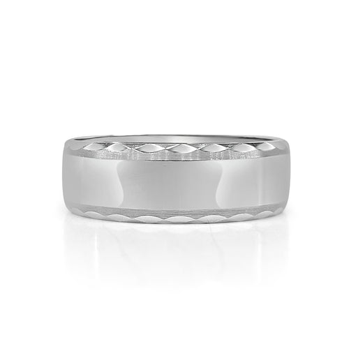 Diamond Cut Edge Tungsten Carbide Band