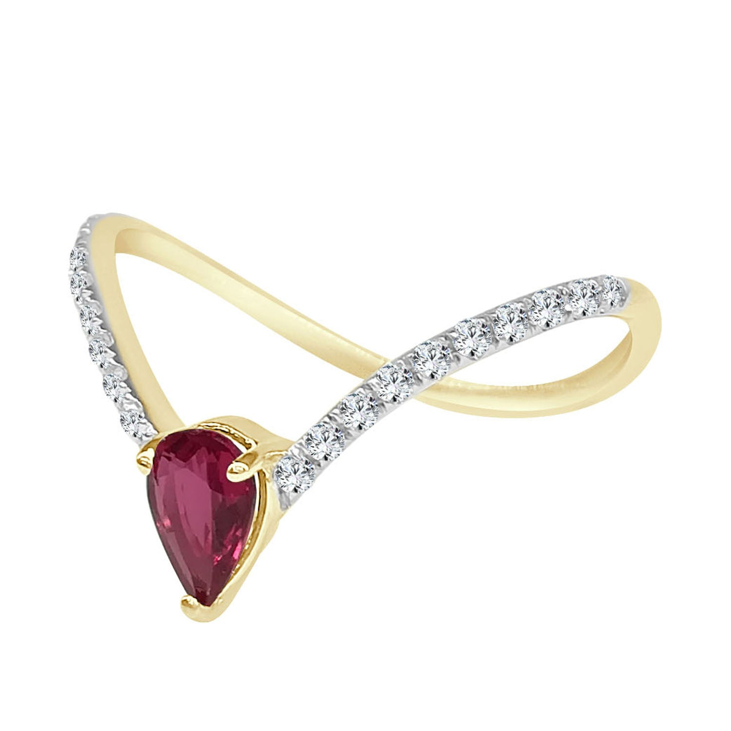 Pear Shape Ruby And Diamond V Ring