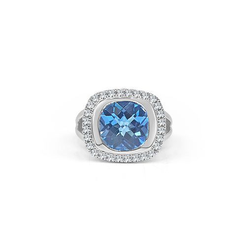 Blue Topaz And Diamond Wide Ring