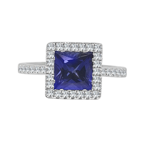 Lafonn Platinum Plated Blue Princess Cut Halo Ring