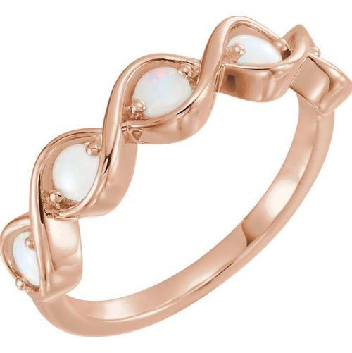 Opal Twist Ring In Rose Gold