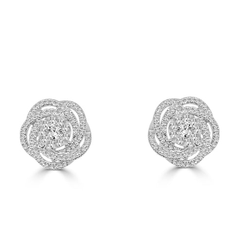 Diamond Bouquet Floral Stud Earrings