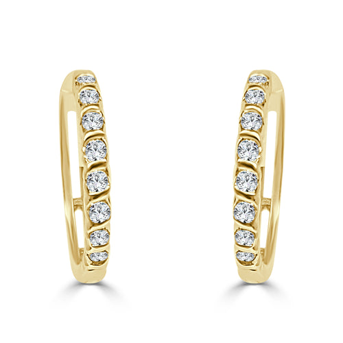 Quarter Carat Diamond Hoop Earrings In Yellow Gold
