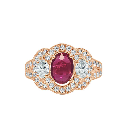 Fancy Oval Ruby And Diamond Ring With Partial Split Shank