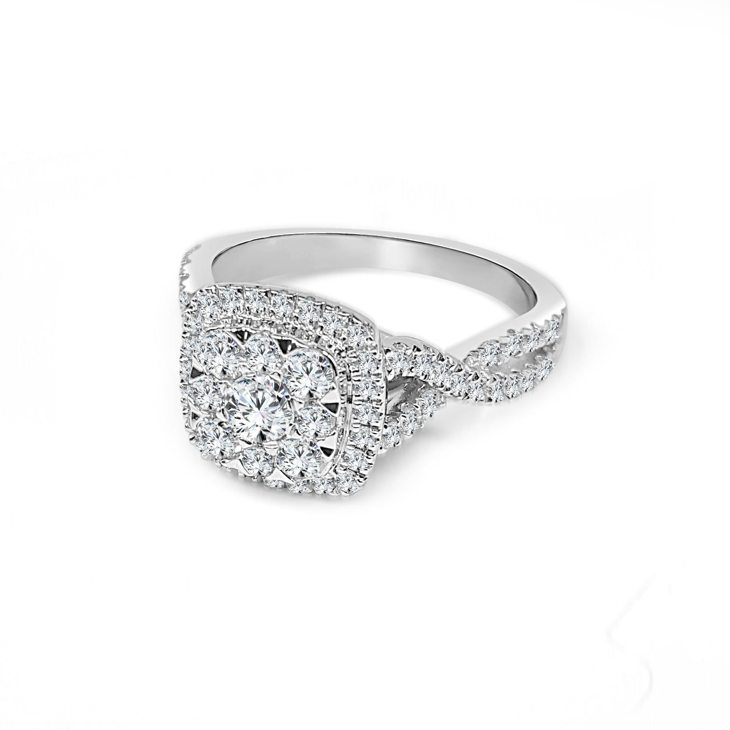 Diamond Cluster Ring With Cushion Halo