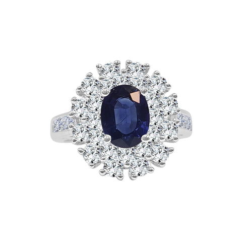 Oval Sapphire Ring With Double Diamond Halo