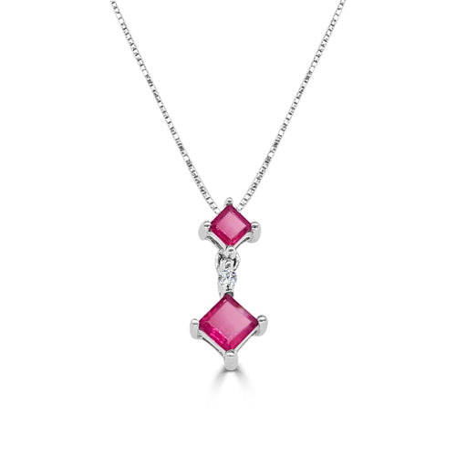 Double Princess Cut Ruby And Diamond Necklace