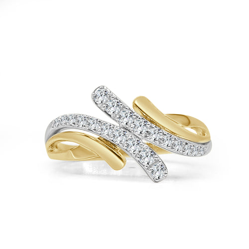 Prong Set Diamond And Yellow Gold Twist Fancy Ring