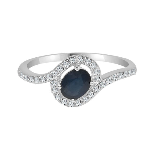 Swirled Oval Sapphire Ring With Diamonds