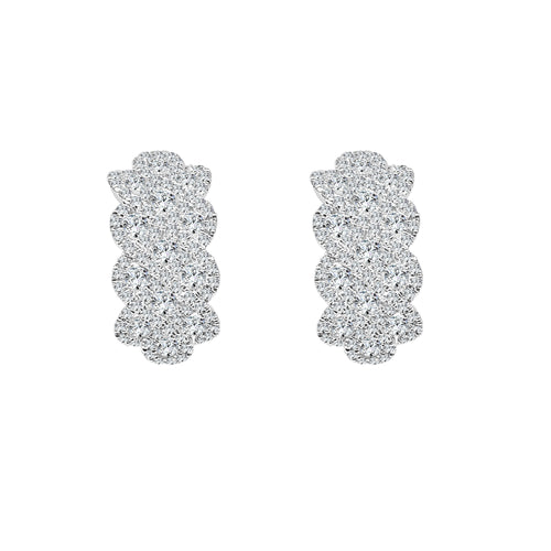 Fancy Scalloped Diamond Hoop Earrings