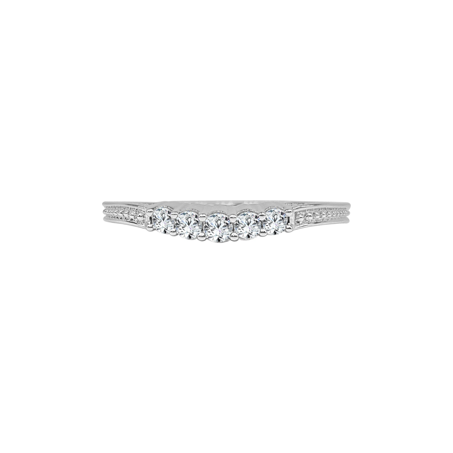 Thin 0.20 Carat Diamond Curved Band With Antiquing