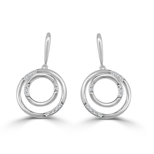 Double Circle Drop Earrings With Diamonds