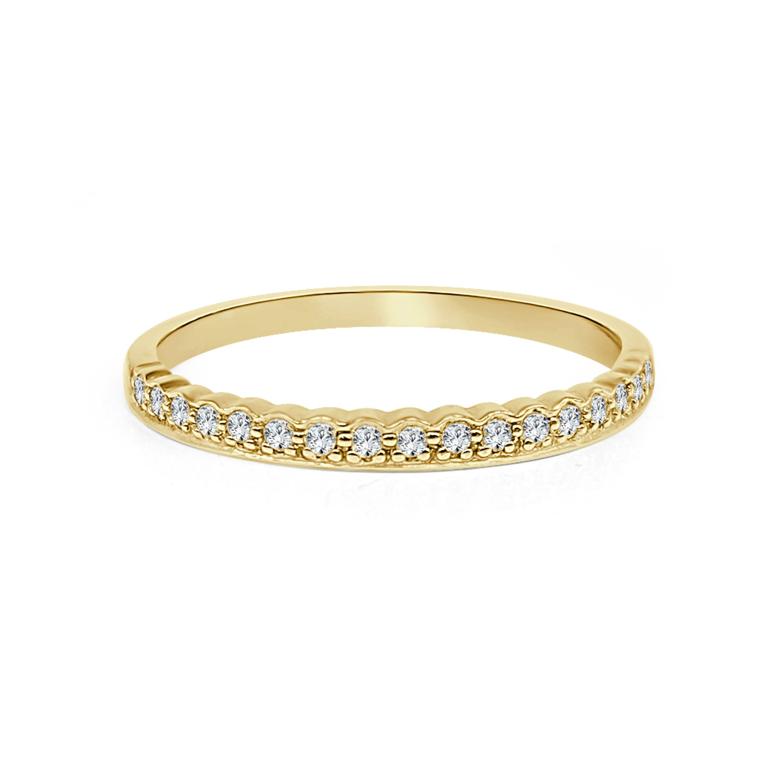 10 Karat Yellow Gold 0.13 Carat Diamond Stackable Diamond Ring