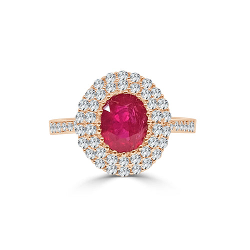 Oval Ruby Ring With Double Halo In Rose Gold