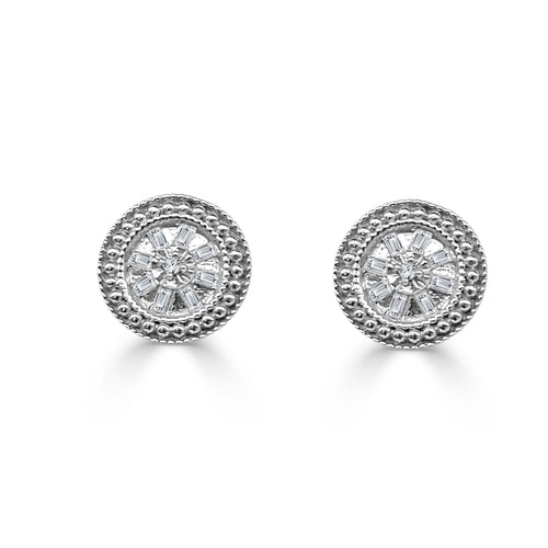 Fancy Round Diamond Stud Earrings With Baguettes